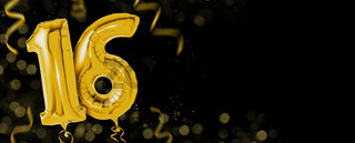 Golden balloons with copy space - Number 16