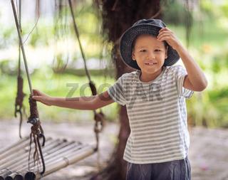 Boy having fun on the swing
