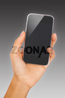 Woman's hand with a glossy 3D mobile phone