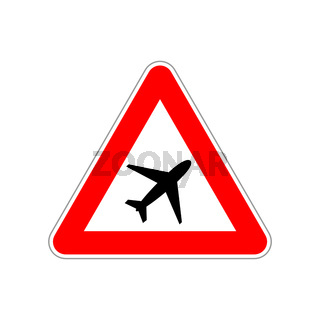 Plane icon on the triangle red and white road sign on white