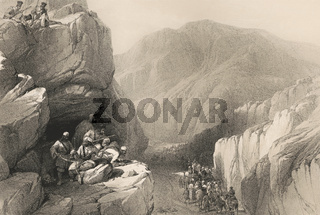 Siri-Kajaur Pass, Baluchistan, Pakistan, First Anglo-Afghan War, sketch by James Atkinson, 1840