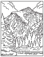 North Cascades National Park Located in Northern Washington State United States Mono Line or Monoline Black and White Line Art