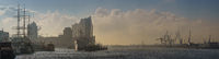 Panorama in the morning at the landungsbrücken in hamburg with elbphilharmonie concert hall