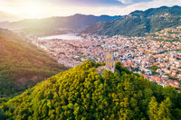 Baradello tower and town of Como aerial view