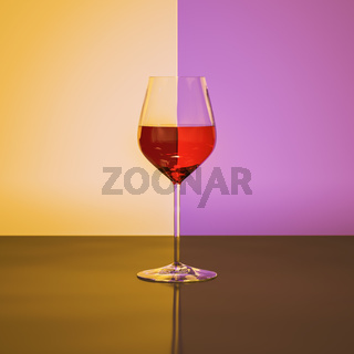 Red wine wineglass refraction