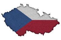 Karte und Fahne von Tschechien auf Filz - Map and flag of Czech Republic on felt
