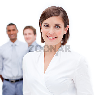 Female manager in front of her team against a white background