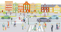 City with houses and traffic, pedestrians on the sidewalk - illustration