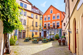 Ansbach. Old town of Ansbach beer garden and street view