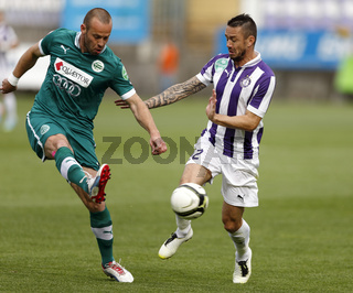 Ujpest vs. Gyori ETO OTP Bank League football match