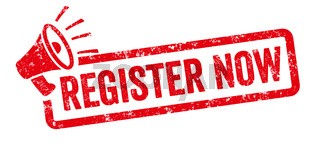 Red stamp with megaphone  - Register now
