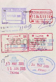 travel visa stamps on passport