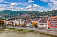 Heidelberg Germany, city skyline at Heidelberg Palace and Neckar river with autumn foliage season
