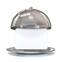 Restaurant dome dish with blank paper card 3D