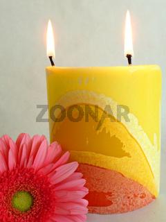 eine Blume und eine Kerze