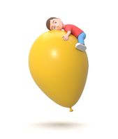 Flying Cute Little Young Kid Hugging a Yellow Balloon 3D Illustration