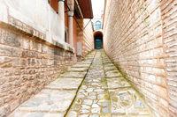 Corridor in old brick castle