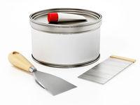 Car repair filler putty and spatulas. 3D illustration