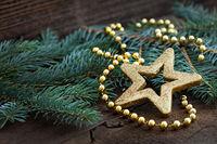 golden star shape on fir