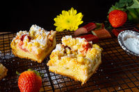 Strawberry rhubarb cake with sprinkles