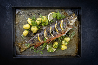 Traditional smoked and roasted char with boiled potatoes and lemon slices offered as top view on a rustic metal tray