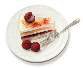 Tasty pie on plate isolated on white