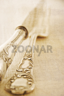 silver cutlery in antique colour