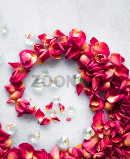 Rose petals on marble background, floral decor and wedding flatlay, holiday greeting card backdrop for event invitation, flat lay design