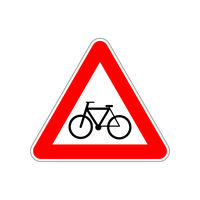 Bicycle icon on the triangle red and white road sign on white