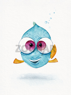 blue fish with big eyes