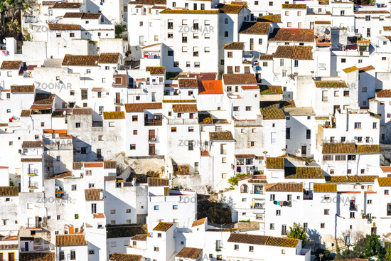 detail view of the whitewashed houses in the village of Casares in Andalusia