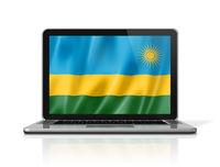 Rwanda flag on laptop screen isolated on white. 3D illustration