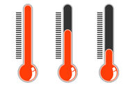 Thermometer with red color sign