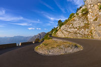 Mountains road and Kotor Bay on sunset - Montenegro