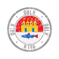 Oulu city postal rubber stamp
