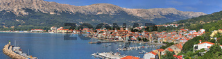 Adriatic Town of Baska panoramic view