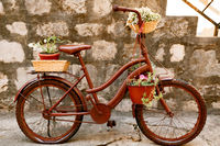 Stylish bike with pots for flowers against the background of brick blocks.