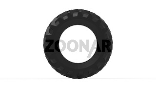 3D rendering of a large truck tractor tire isolated on white background.