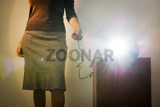 Retro Slide Projector Woman