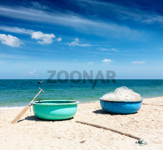 Fishing boats on beach. Mui Ne