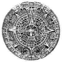 Aztec Sun Stone Illustration In Black and White