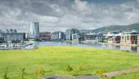 Elevated view on Belfast city quays, harbour and marina, Northern Ireland