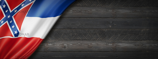 Mississippi flag on black wood wall banner, USA