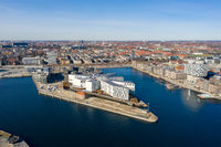 Drone View of UN City in Copenhagen, Denmark