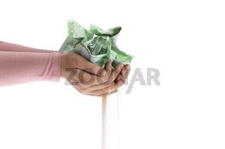 Geldscheine zerfallen zu Sand