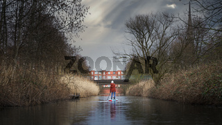 SUP Tour on a small river in Hamburg