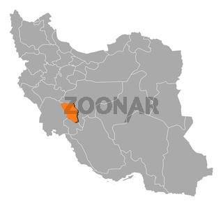 Map of Iran, Chaharmahal and Bakhtiari highlighted
