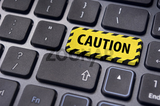 caution message for internet or computer