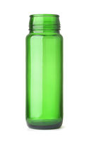 Front view of  green glass wide neck bottle