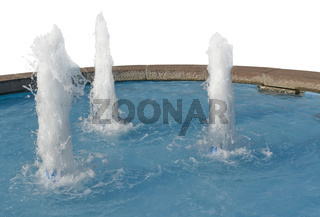 blue fountain in white back